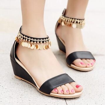 2015 Summer Sexy Beautiful Open Toe Wedges Sandals For Women Bohemian Zipper Rome Small Wedge Women National Shoes Size 34-43<br><br>Aliexpress