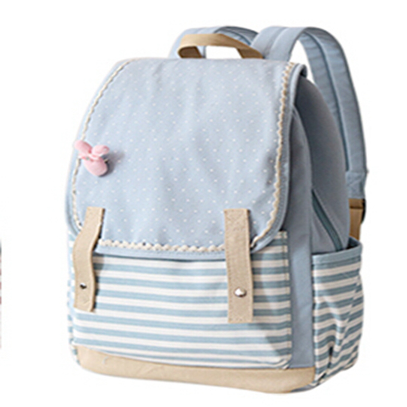 Japan and Korean Style Canvas Backpack Fresh Dot Striped Teenagers Girls Travel Bag Laptop Backpacks withy Cute Pink Bow Rabbit(China (Mainland))
