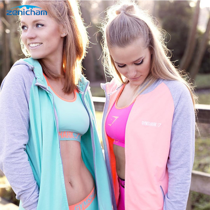 Zenicham 4 Colors Women's Sportswear 95% Modal Fitness Top Zipper Hoodies Jersey sport jacket gym hoody sport running jacket B2
