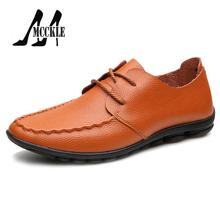 2016 New Men Flat Shoes Spring Autumn Comfortable Flat Shoes Man Genuine Leather Lithe Breathable Men's Slip-on Casual Shoes