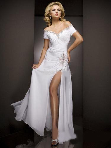 2011 Available Colors7One Shoulder Prom Evening Dress 15361 Beaded Strap Chiffon Custom Made All SKOLTGSAB