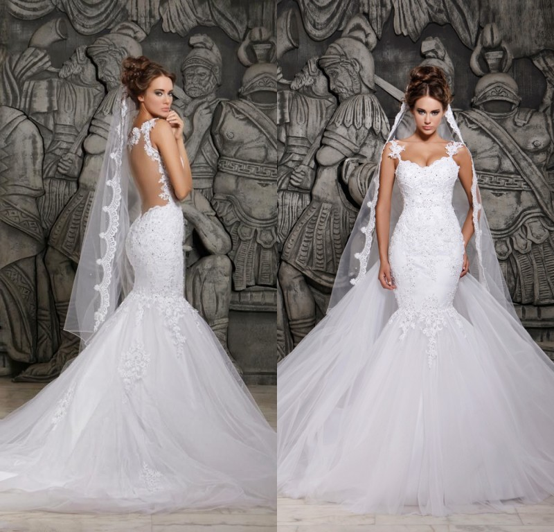 Real picture 2015 designers white lace see through mermaid for True mermaid wedding dresses