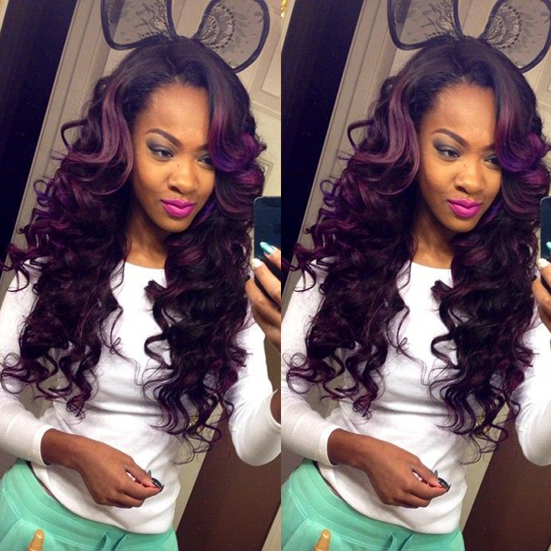 Purple And Black Lace Front Wig 29