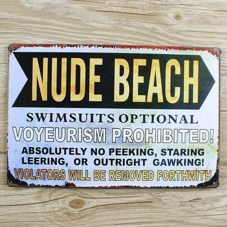 Nude beach letters slogan vintage home decor metal tin for Plaque metal deco pour mur