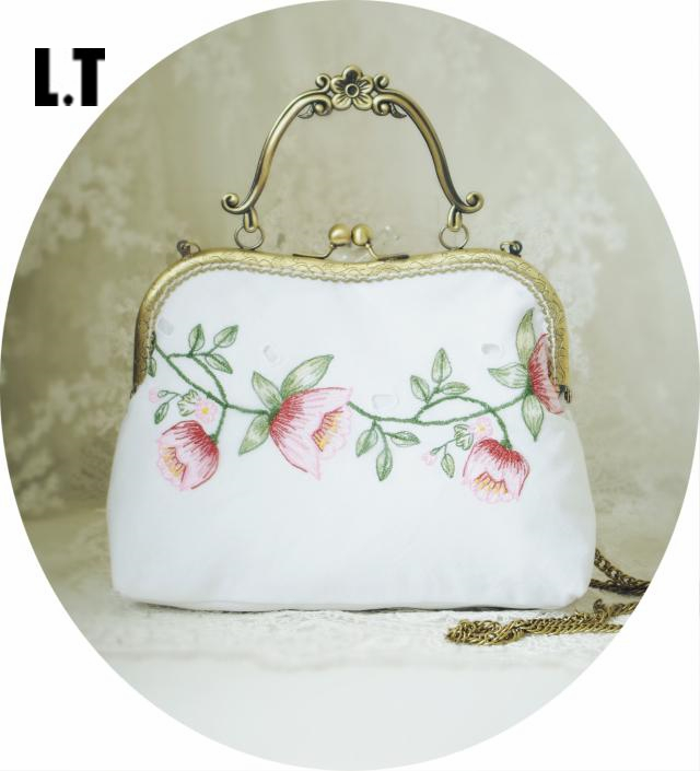 Women Shabby Chic Floral Embroidery Kiss Lock Bag Handmade Vintage Retro Elegant Rustic Victorian Cottage White Handbag Etsy(China (Mainland))