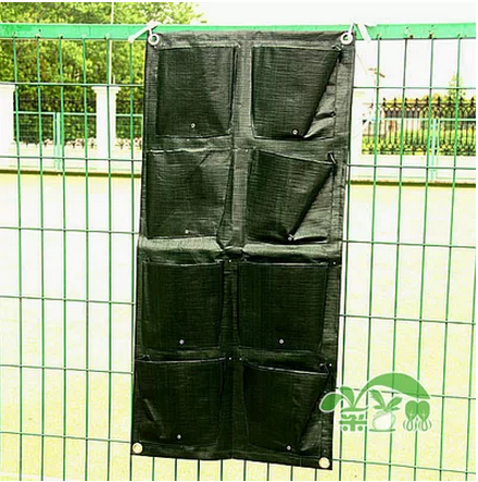 Home Garden Supplies Green Plastic pe Flower Pots Wall Hanging Planter 8 Pockets pot Vegetable planting bags storage bag - Helmet & Jewelry Accessories store