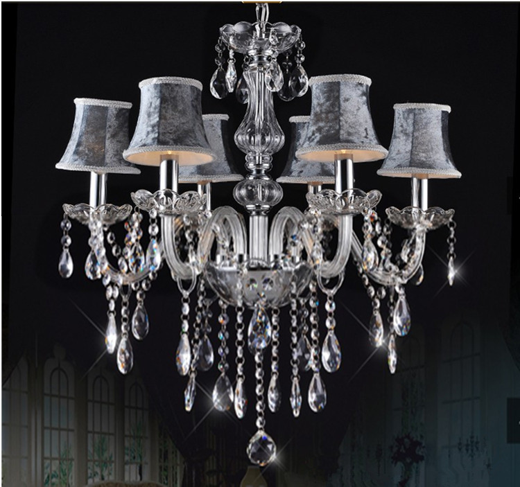 European 9 Color Transparent Crystal Chandelier Lamp Modern Chandelier Light