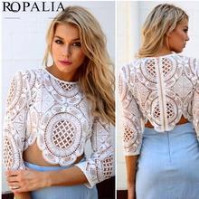 Sexy Women Lace Hollow Crop Top Long Sleeve Blouse Shirts Zipper YRD(Hong Kong)