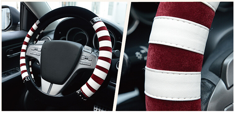 38cm Flocking car steering wheel covers Universal Car steering wheel wrap Senior leather steering wheel cover ZEBRA PUNK(China (Mainland))
