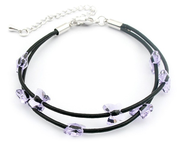Violet Butterfly Crystal Kids Bracelet Made With Swarovski Elements Cow Leather Cord Cute Bracelets(China (Mainland))