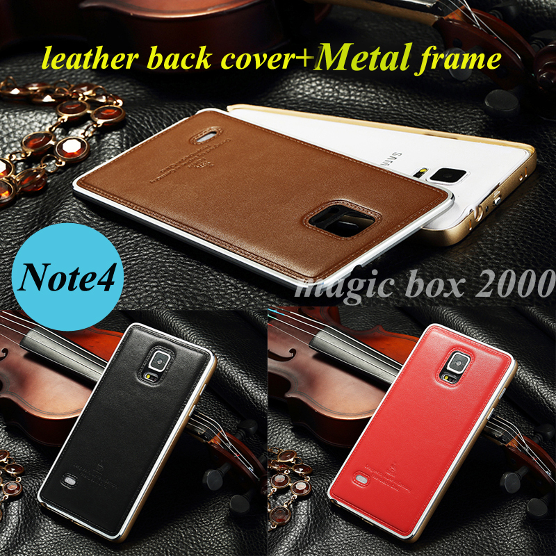 Note 4 case luxury Aluminum metal frame & real cowhide leather back cover for samsung galaxy note 4 case n9000 mobile phone bags(China (Mainland))