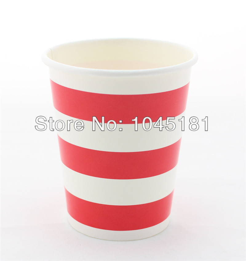 Biodegradable 720 PIECES Red Striped Paper Cups for Party Favors Supplies Paper drinking cups(China (Mainland))