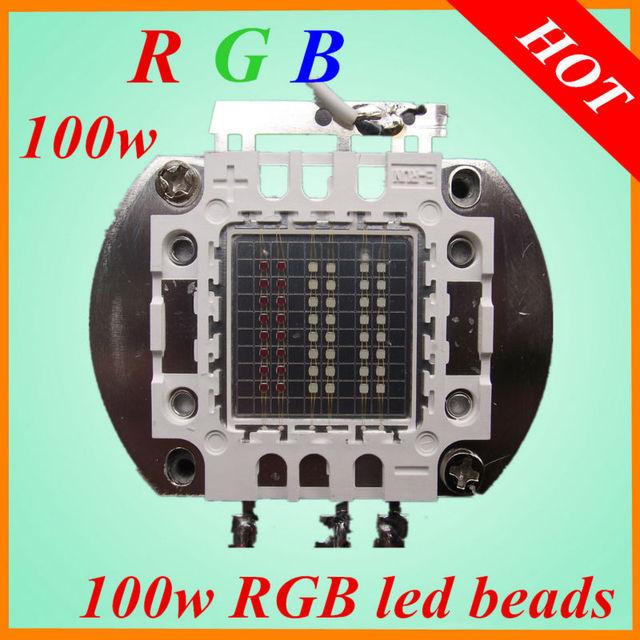 50pcs100W RGB LED Bead  EPILEDS led grow light 30-80lm  Red Green Blue  100w rgb  led beads led rgb cob chip free shiping