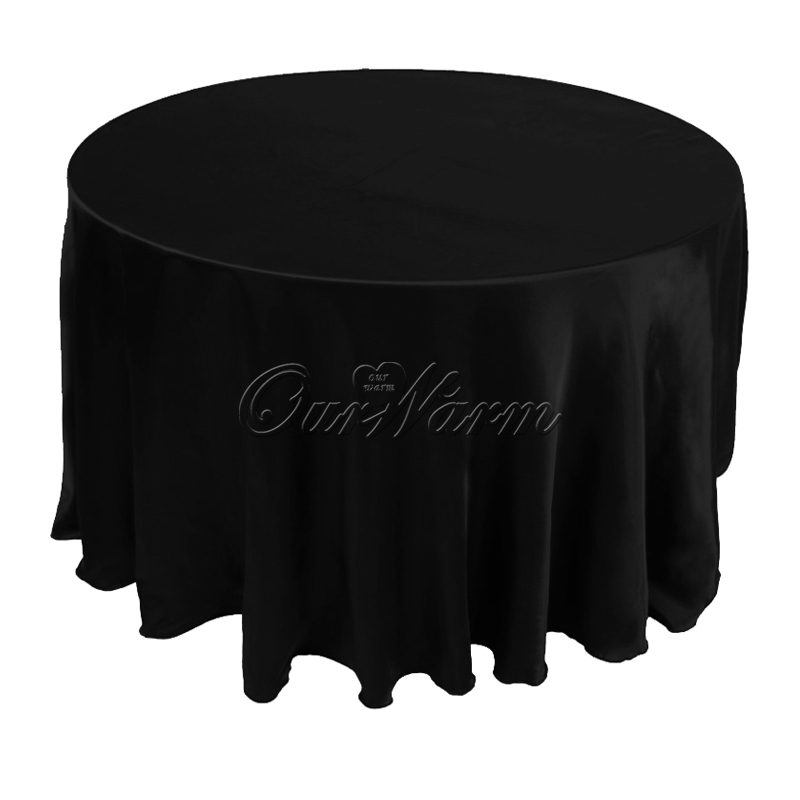 "120"" tablecloth Satin Table Cloth Polyester white black Cover square 305cm overlay solid(China (Mainland))"