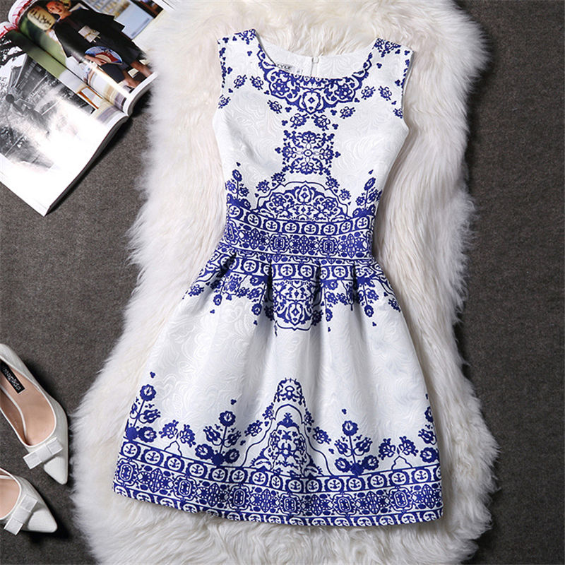 Summer Dress Women 2016 Slim Butterfly Printed France Lady A-line Dress Casual Vintage vestido Female Clothing Contrast Color(China (Mainland))