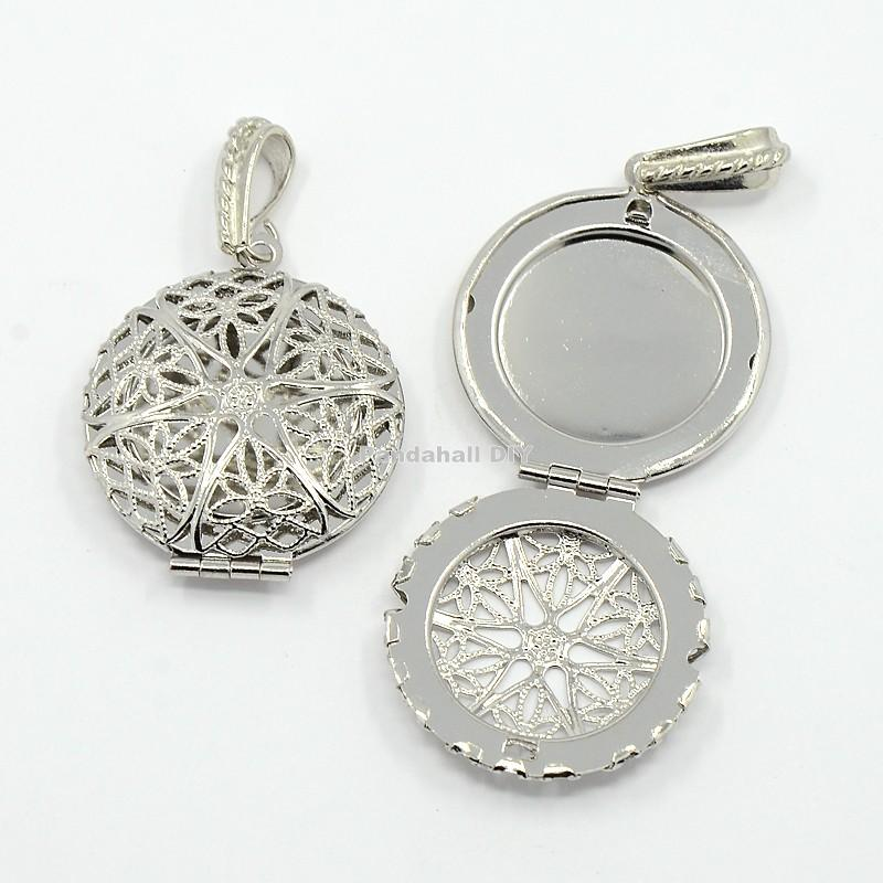 100pcs Brass Diffuser Locket Pendants Picture Frame Charms for Necklace, Lead Free, Platinum Color, about 27mm wide, 42.5mm long(China (Mainland))