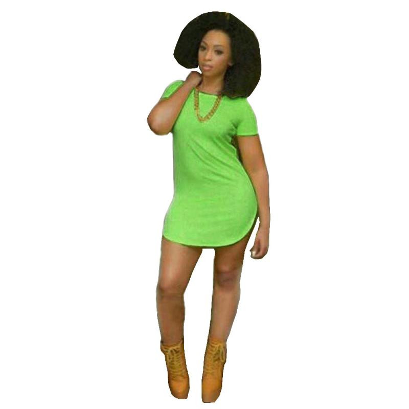 Hot ! Superior Sexy Women Tops Short Sleeve Side Slit Casual T Shirt Party Mini Dress May 27(China (Mainland))