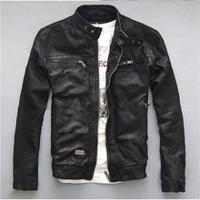 2016 hot Genuine Leather Jacket Men Real Natural Sheepskin Goat Skin Fashion Brand Short Motorcycle Biker Men's Coat Autumn(China (Mainland))