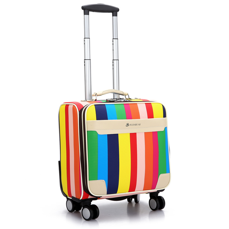 Womens PU Leather 18 Inch Colorful Stripes Spinner Trolley Travel Suitcase Ladies High Quality Suitcases Luggages(China (Mainland))