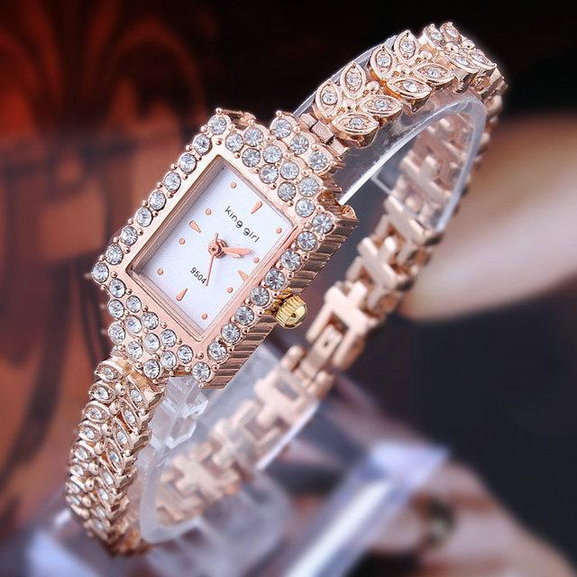 2015 горячих мода роуз браслет горный хрусталь кристалл женщины часы прямоугольные кварцевые часы relogio masculino