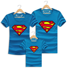 2016 Summer Holiday Family Look Mother Father Baby Cotton Beach Short-sleeved T-shirt Family Cartoon   Superman Matching Outfits