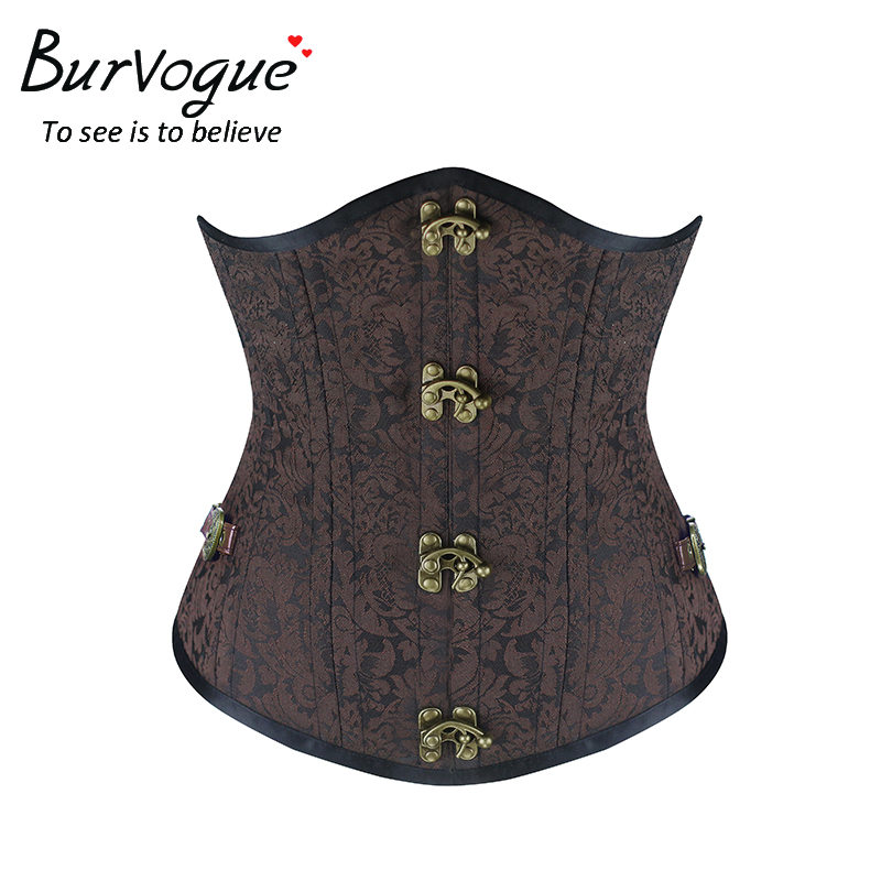 Burvogue Steampunk Corset Brown Black Steel Bone Underbust Corsets Dobby Corselets Sexy Waist Slim Bustiers Waist Cincher corset(China (Mainland))