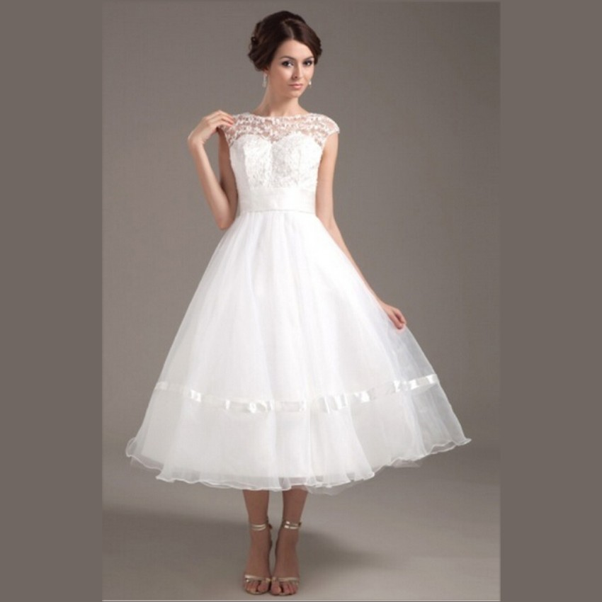Buy 2015 hot sale white organza short for Wedding dresses sale online