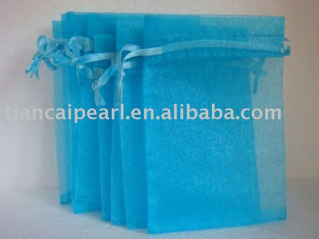 2016---free shipping  100 pcs  wholesale sky  blue   color     Organza Jewelry Wedding Gift Bag