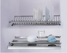 embedded dish drainer 2-tier stainless steel plate bowl cup drying rack inside kitchen cabinet tableware organizer(China (Mainland))