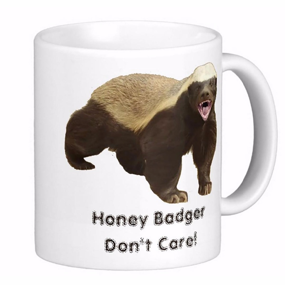 Honey Badger Don'T Care Frosted Glass White Coffee mugs Tea Mug Customize Gift By LVSURE Ceramic Cup Mug Travel Coffee Mugs(China (Mainland))