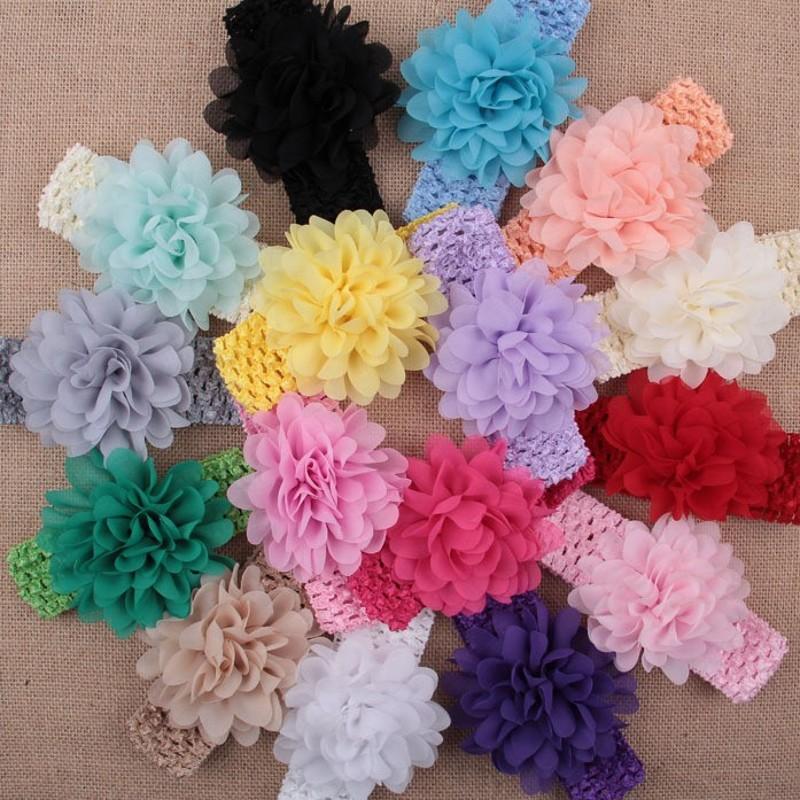Elastic Headbands Infant flower headband Babies lace Bow hairband crochet head bands(China (Mainland))