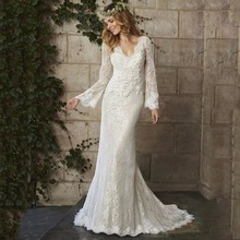 Buy Robe de Mariage 2017 Bohemia Lace Beach Wedding Dresses V-Neck Long Sleeves Backless Bridal Gown 2017 Wedding Dress Custom Made for $149.00 in AliExpress store