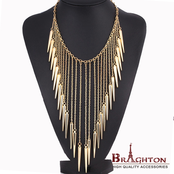 2015 New Collar Jewelry European Style Vintage Trench Fashion Necklace Rivet Long Tassel Punk Accessories Women