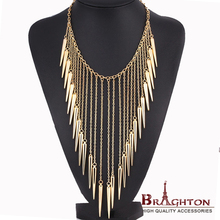 2014 New Jewelry European Style Vintage Trench Fashion Necklace Rivet Long Tassel Collar Punk Accessories Women Free shipping