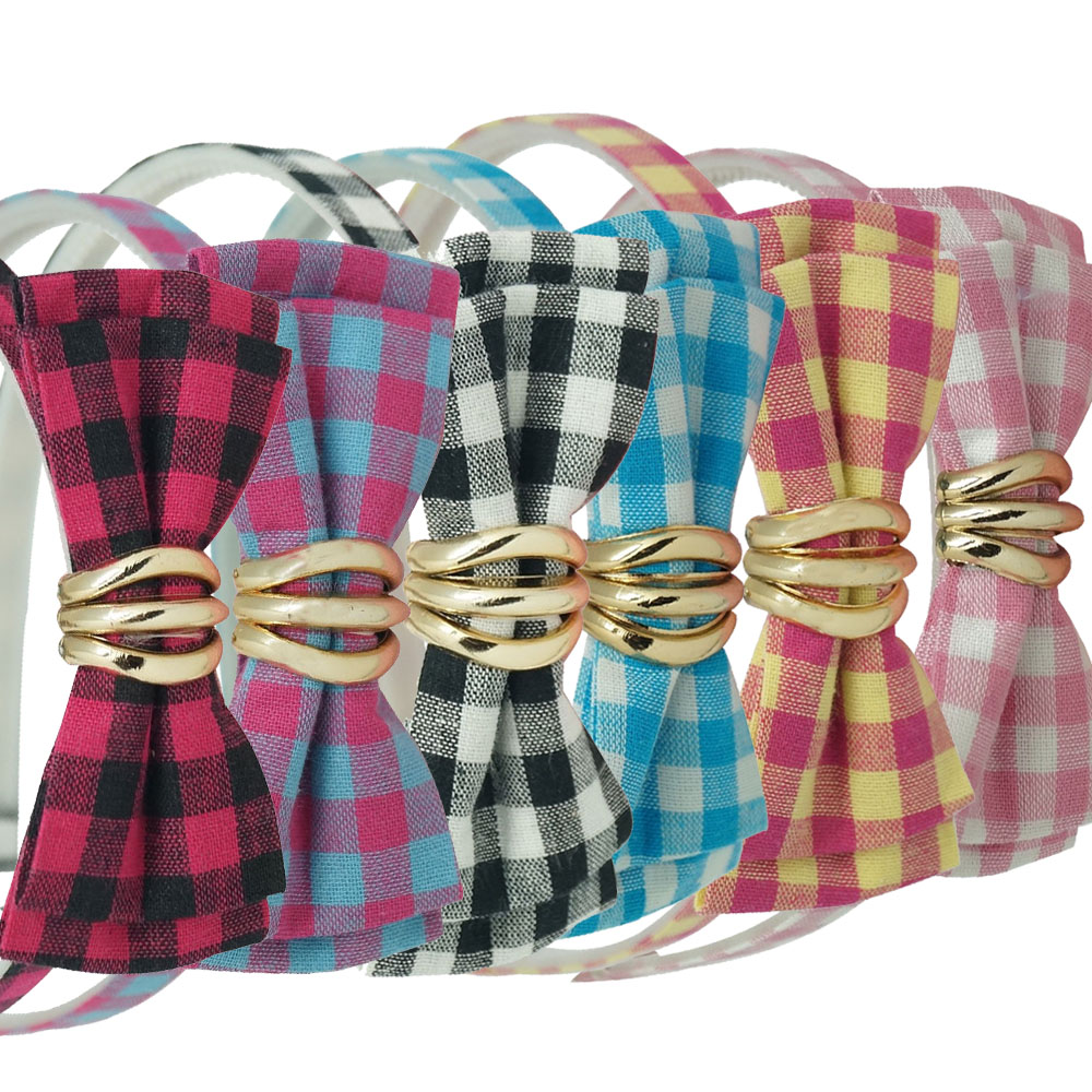Durable Plaid Fabric Hairbows Headband Hair Bands Hairband For Children Kids Hair Accessories(China (Mainland))