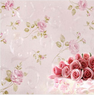 Europe Rustic Flower Wallpaper Rose Pink Purple Wall Paper papel parede 3D waterproof papel pared for Bedroom Living Room(China (Mainland))