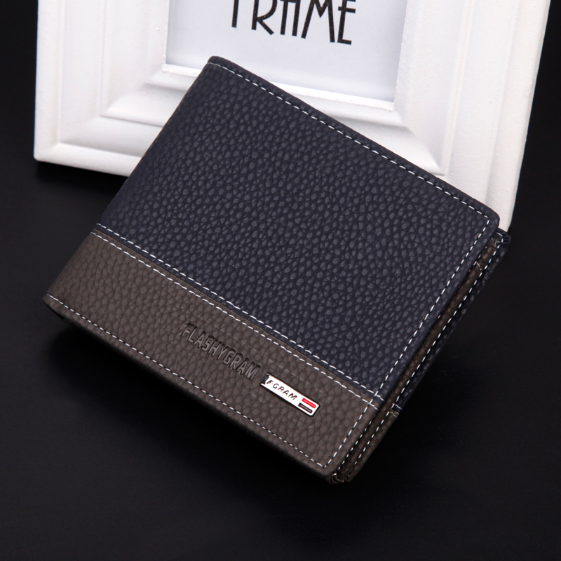 Hot 2015 New Designer brand business black leather Men wallets short purse card holder fashion carteira