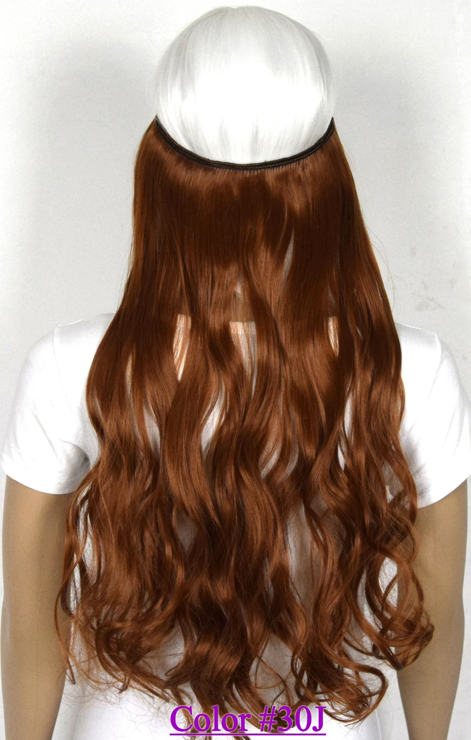 """22"""" (55cm) 100g Wavy mircale wire hair extension hot resistant synthetic hair extension Color #30J Light auburn(China (Mainland))"""
