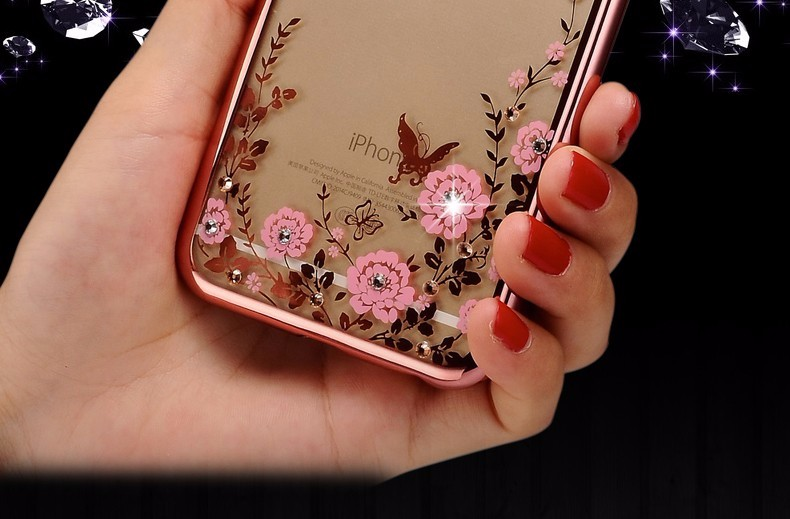 Luxury Diamond Flower Case for iPhone 6s Case 6 Plus Silicone Cover for iPhone 6 6s 7 Plus 5 5s SE TPU Clear Cover Coque Fundas
