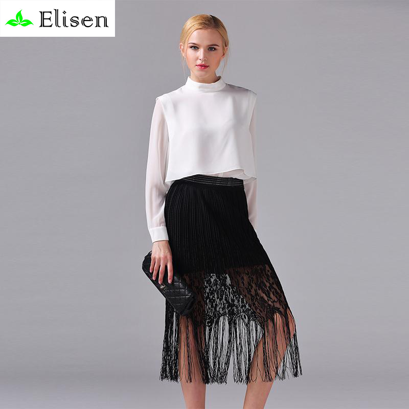 Office Twinset New 2016 Summer Full Sleeve White Brief Soft Blouse + Black Tassel Sexy Slim Skirt Luxury Women SetsОдежда и ак�е��уары<br><br><br>Aliexpress