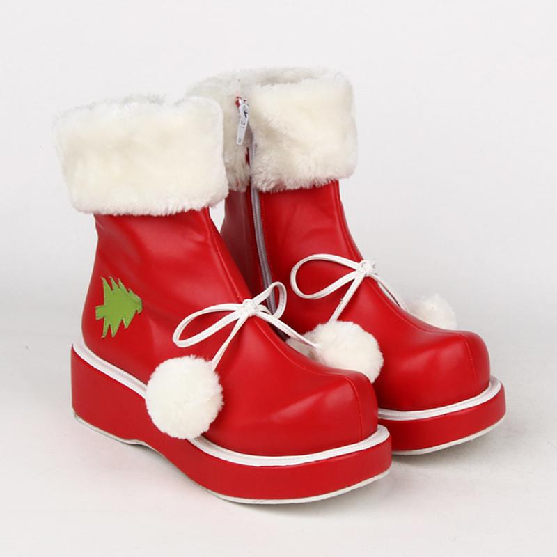 Plus Size winter ladies lolita shoes red Christmas short boots women Plus velvet leather flats shoes Princess platform shoesОдежда и ак�е��уары<br><br><br>Aliexpress