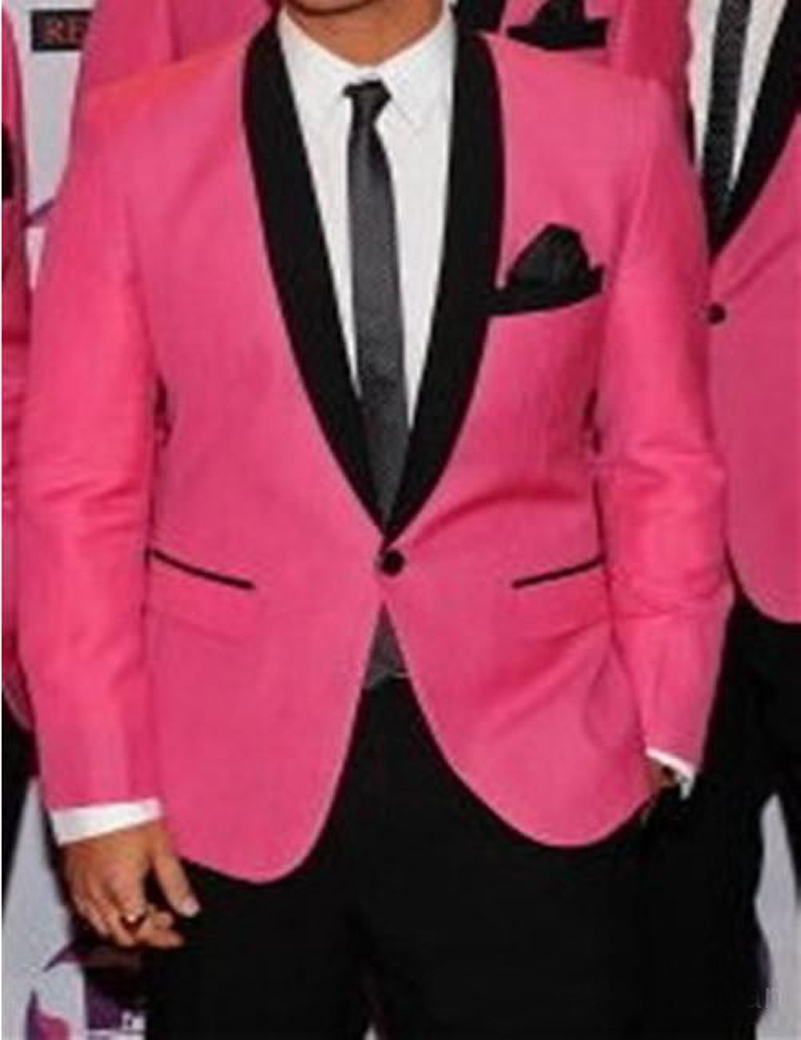 Custom Made 2016 Hot Pink Groom Wedding Tuxedos For Men With Black Shawl Lapel Tailor Made Pink Wedding Suits For Men Groom Suit