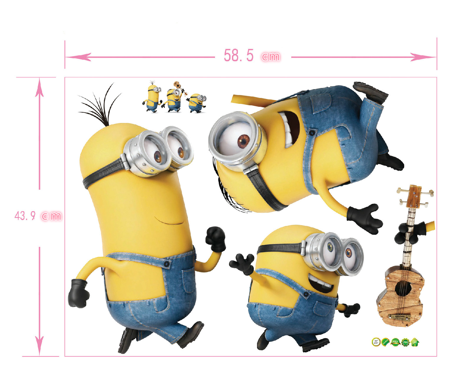 7 Knds 3D Despicable Me 2 Minions Wall Stickers Floor Stickers Children's Room Wall Stickers Creative 3D Minions Decals For Kids