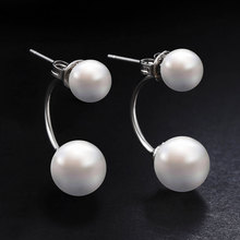 Buy Hot Silver Plated Double Side Earing Fashion Jewelry Crystal Ball Stud Earrings Women Simulated Pearl Earrings Free for $1.69 in AliExpress store