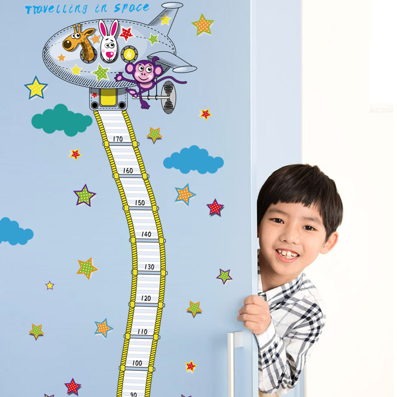 Aerial Ladder Height Measurement Wall Sticker Kids Boys Room Nursery Growth Chart Wall Decal Traveling in Space Wallpaper(China (Mainland))