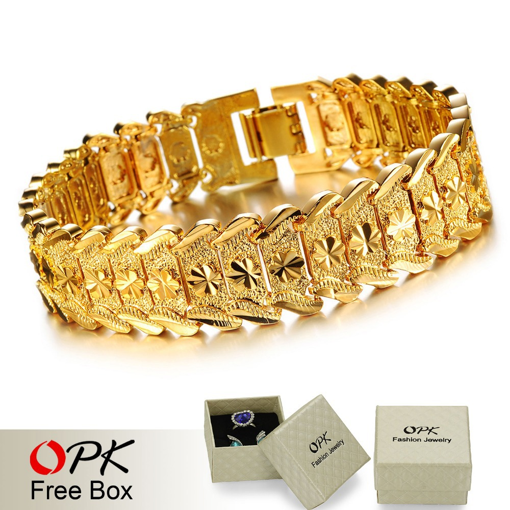 OPK JEWELRY Luxury 18K Real Gold plated Bracelet & Bangle Wide Surface 17mm Attractive Men Jewelry Top Workmanship 398(China (Mainland))
