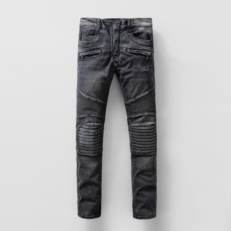 Men's Skinny Ripped Rider Biker Jeans Patchwork Design Motorcycle Slim Fit Washed Black Denim Pants Joggers For Skinny Men 29-38