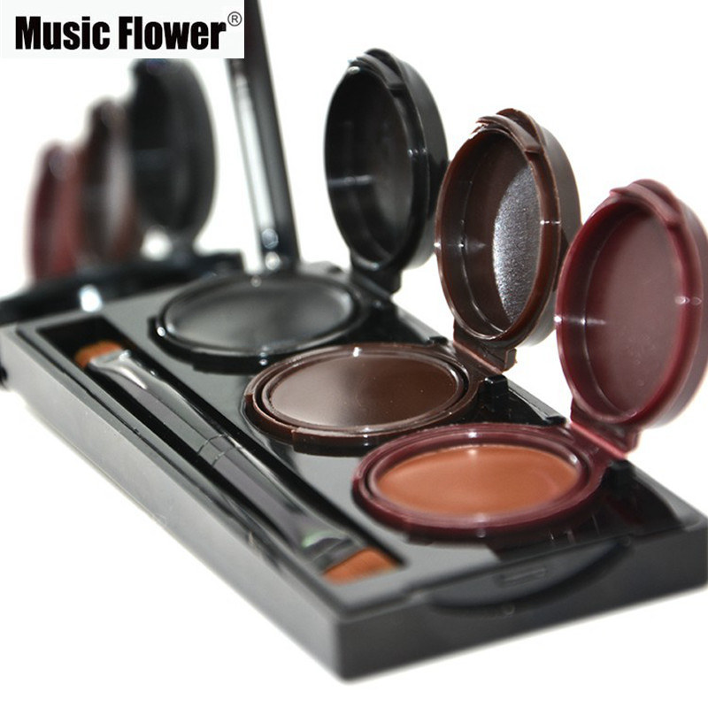 2017 Music Flower Brand Makeup Eyeliner Gel & Eyebrow Powder Palette Waterproof Lasting Smudgeproof Cosmetics Eye Brow Enhancers