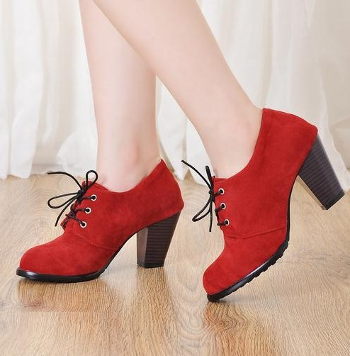 2014 New Round Toe Thick Heel Women Pumps Fashion Flock Lace Up Deep Mouth High Heels Women Shoes Vintage Scrub Ankle Boots<br><br>Aliexpress