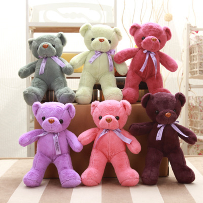One piece Teddy Bears Plush Toy 35cm Stuffed Animals Bear Doll with Bownot Wedding Gift Children Bear Soft toys for girl/boy(China (Mainland))